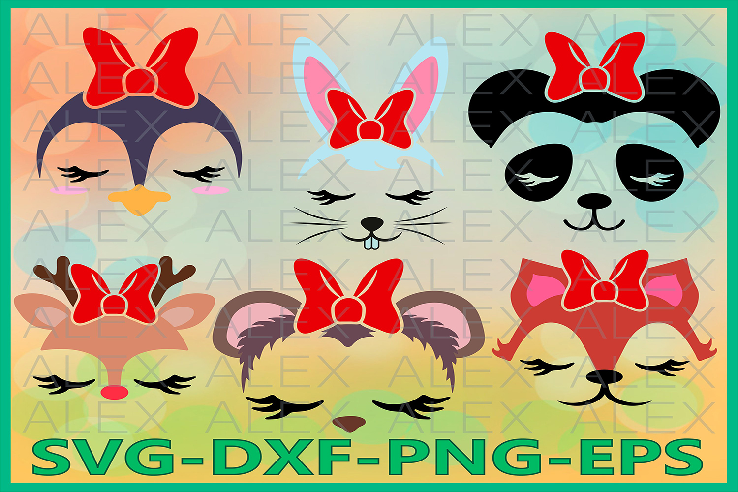 Animal Face Svg, Girls Face svg, Animals with a bow example image 1