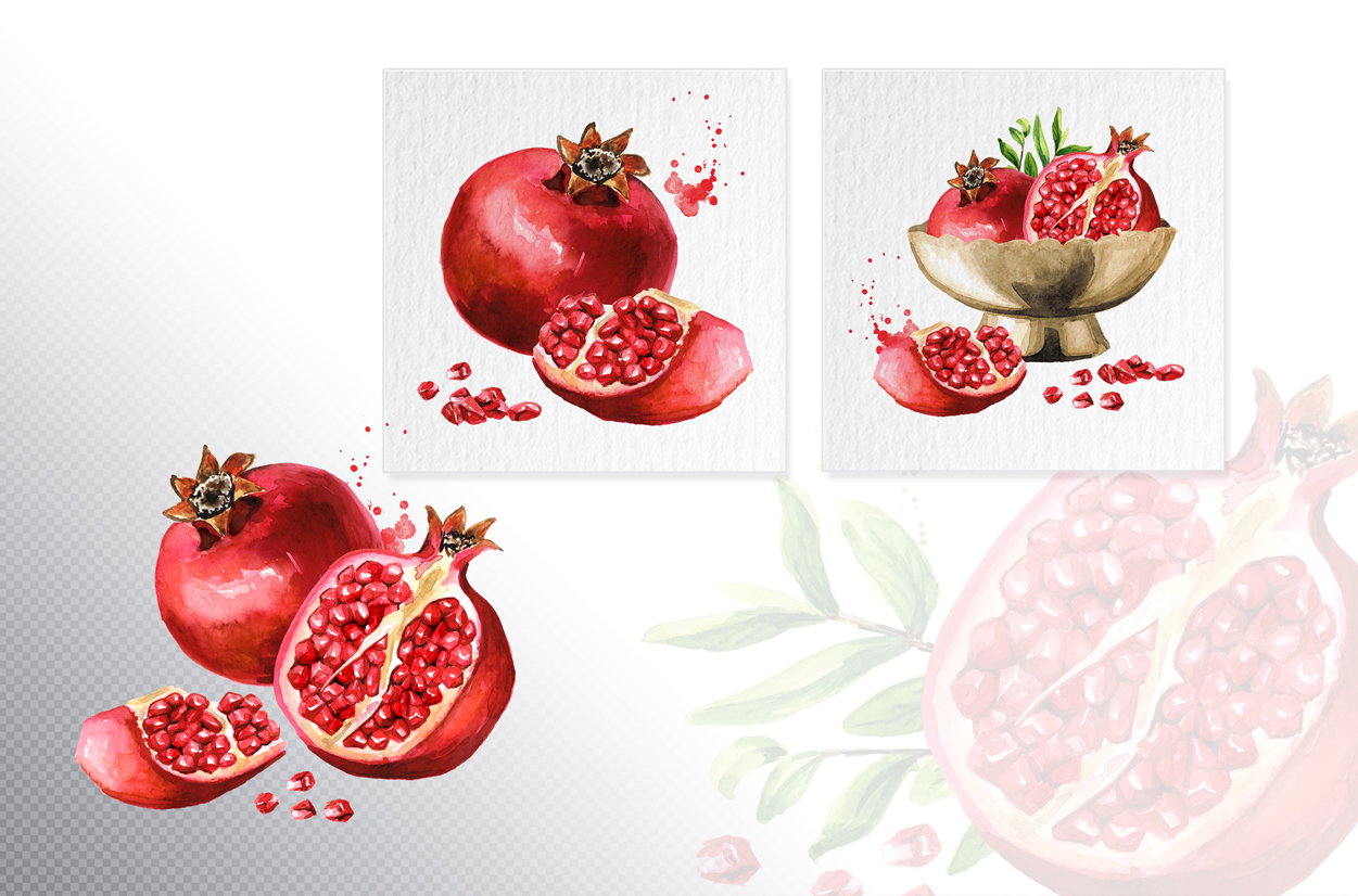 Pomegranate. Watercolor collection example image 4