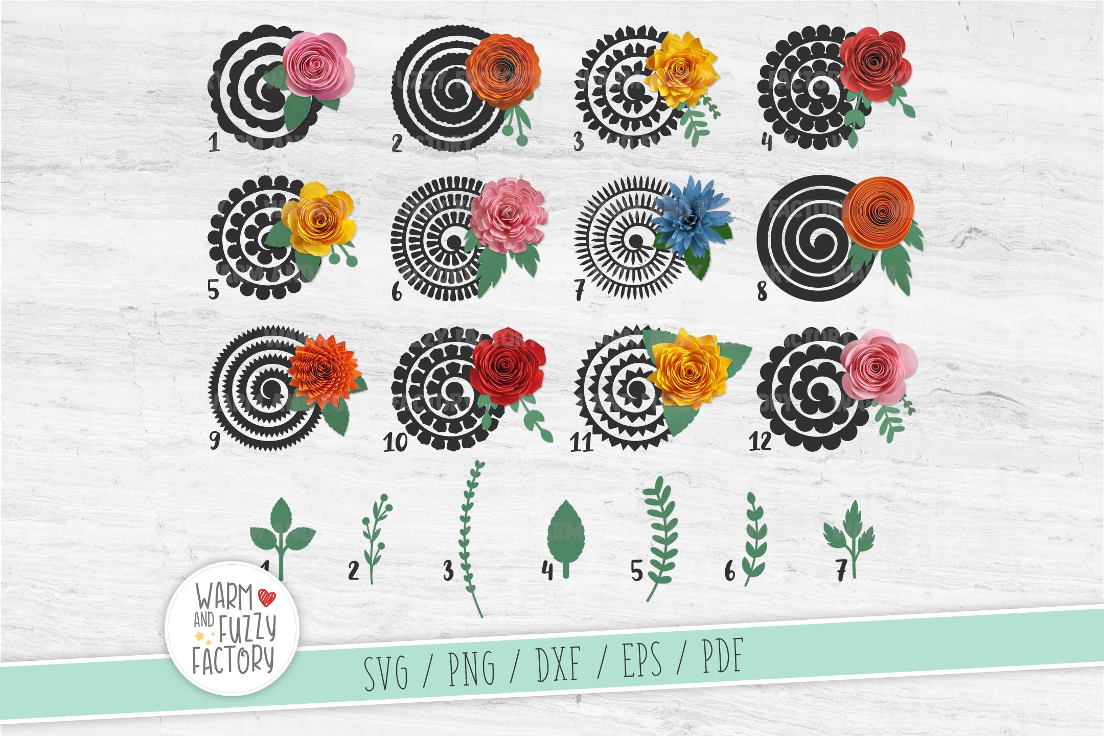 Paper flower template, Rolled flower svg, Paper flower svg example image 2