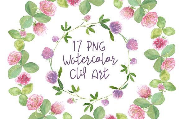 17 Watercolor Clover Clip Art example image 1