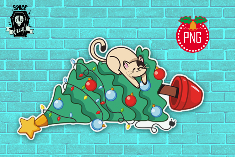 Naughty cat and christmas tree clipart PNG file example image 1