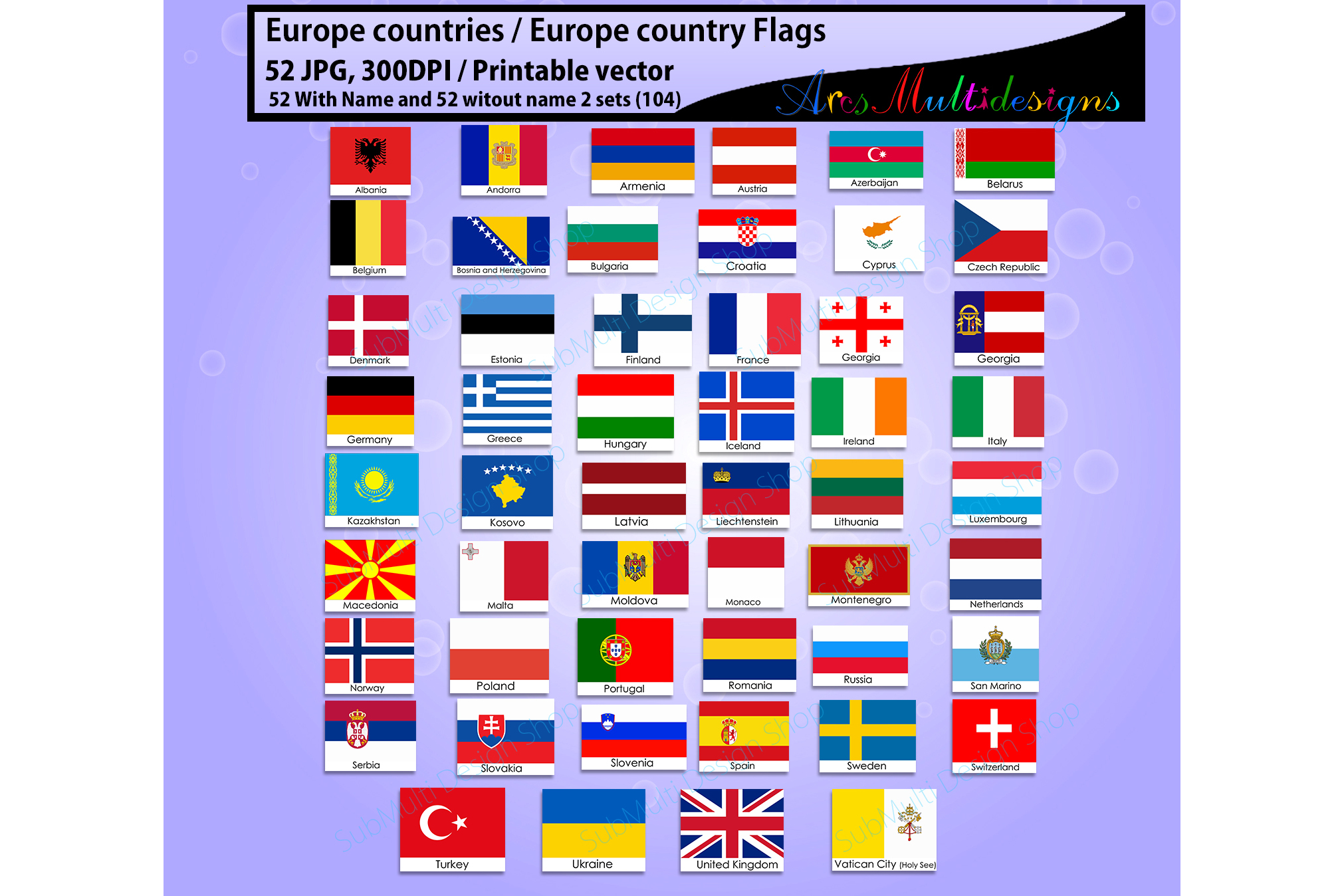 Europe countries / Europe country Flags / country flag / 300DPI / Vector flags / flag clipart and silhouette / printable flag/ digital flag example image 2