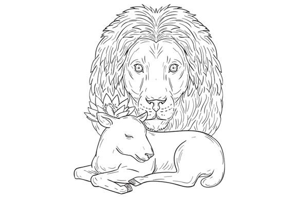 Lion Watching Over Sleeping Lamb Drawing example image 1