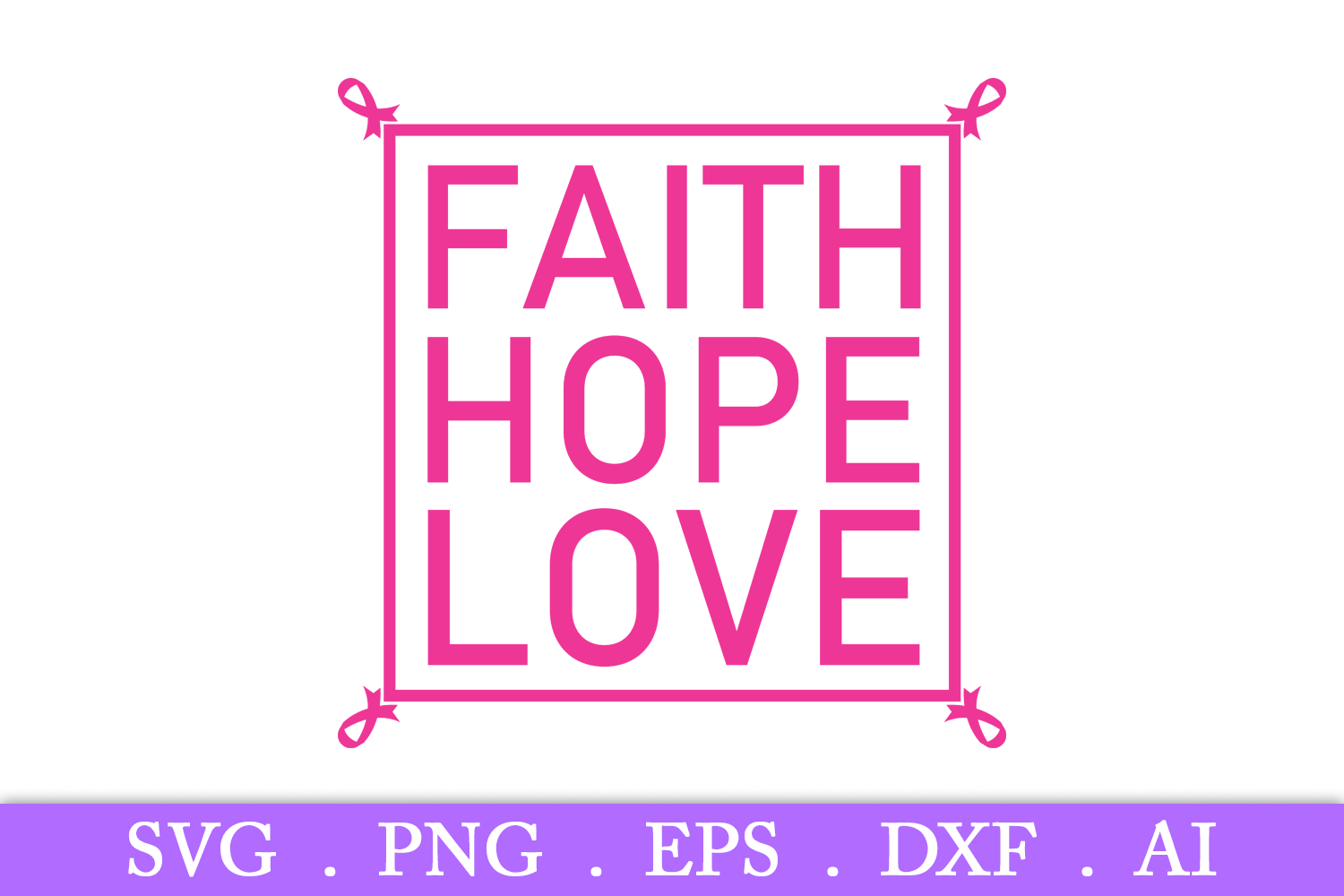 SALE! Faith Hope Love svg, breast cancer svg, cancer ribbon example image 2