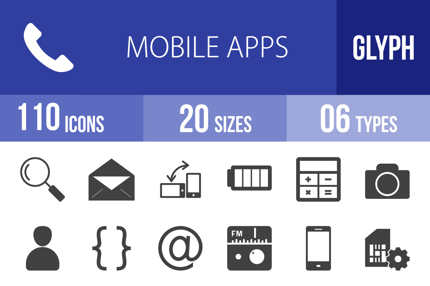 50 Smartphone Glyph Icons example image 1