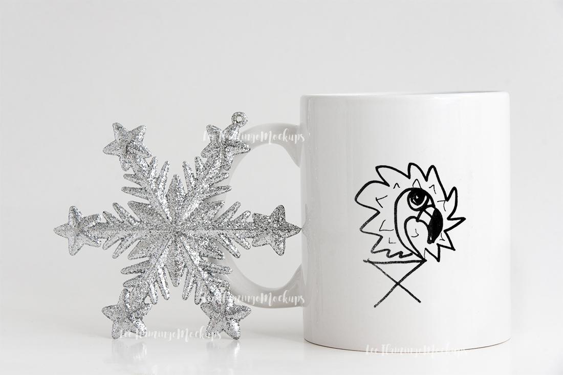 Winter white coffee mug mock up minimal  example image 3