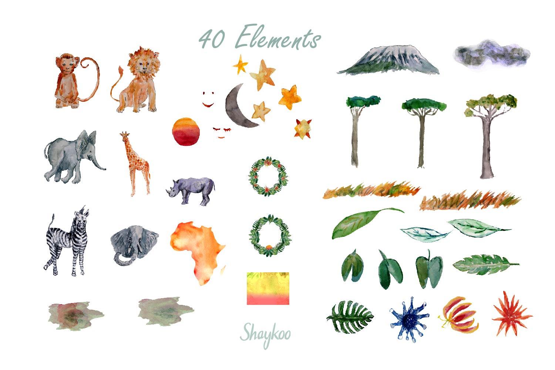 African Safari Animals Watercolor Clipart, Nursery Animals example image 4