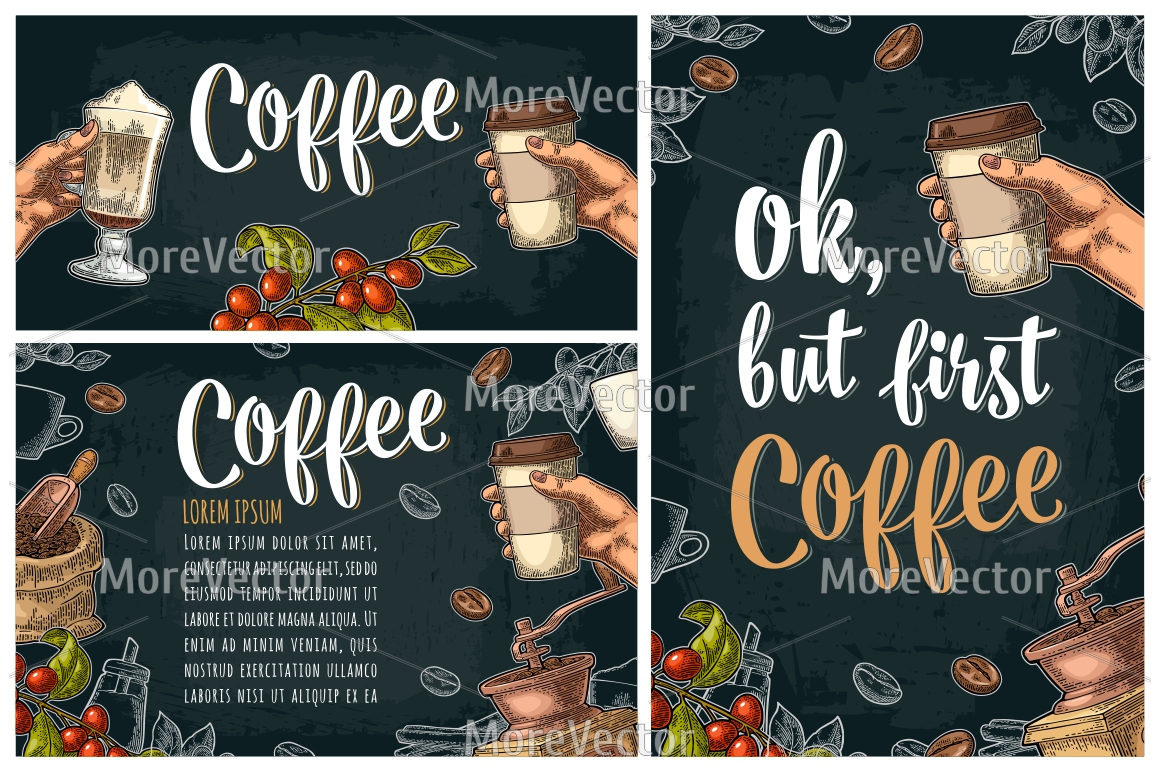 Template poster with coffee hand holding disposable cup example image 1