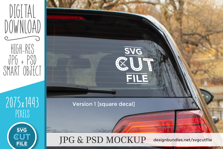 Car decal mockup, vinyl decal mock up, car sticker psd file example image 1