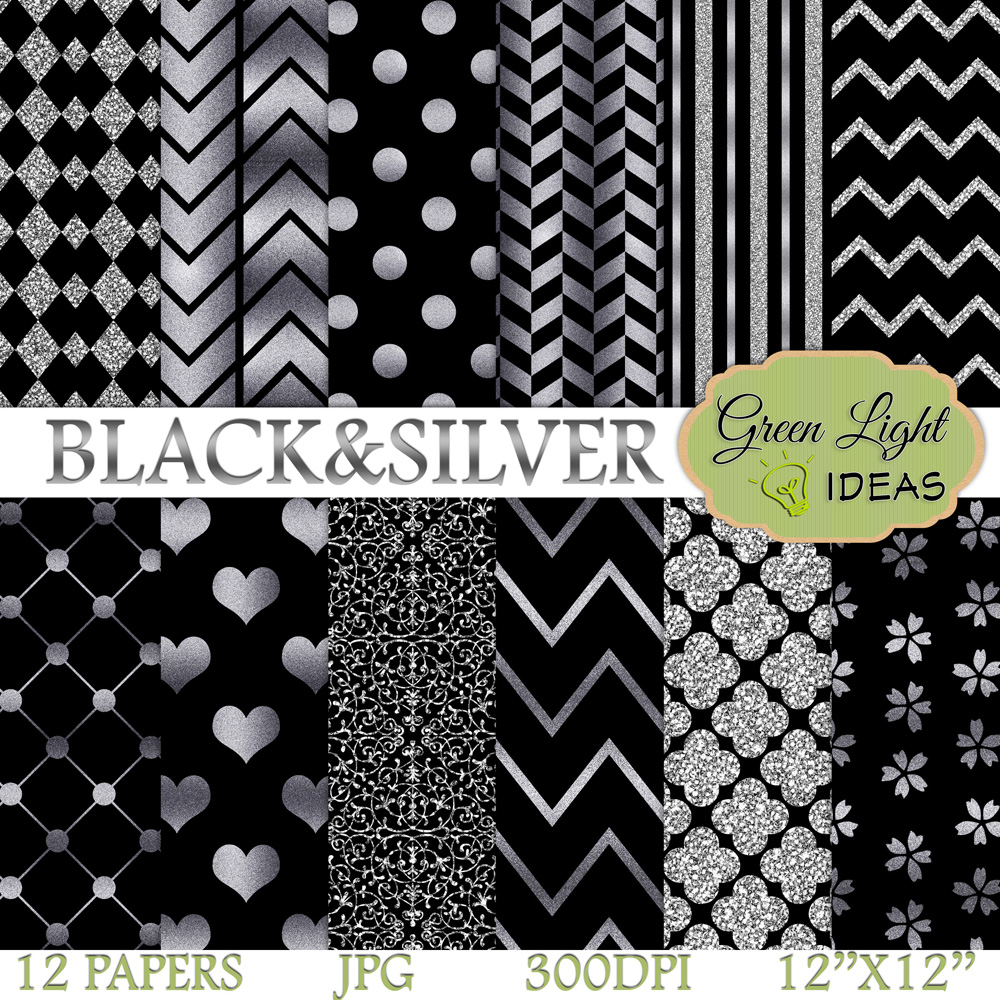 Black and Silver Digital Papers example image 1