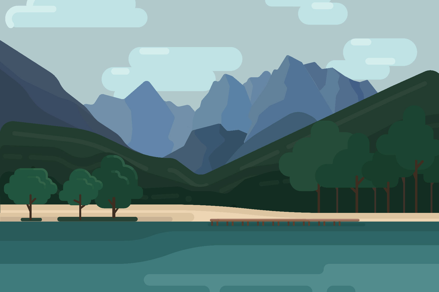 Mountain landscapes - Vector illustrations example image 2