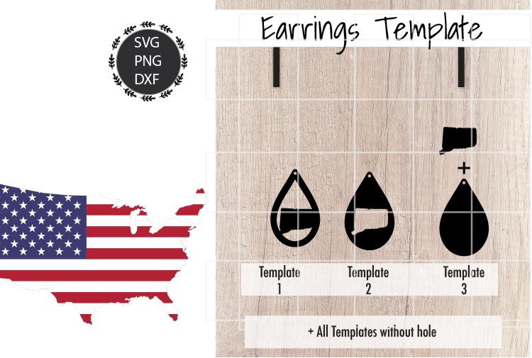 Earrings Template - Connecticut Teardrop Earrings Svg example image 2
