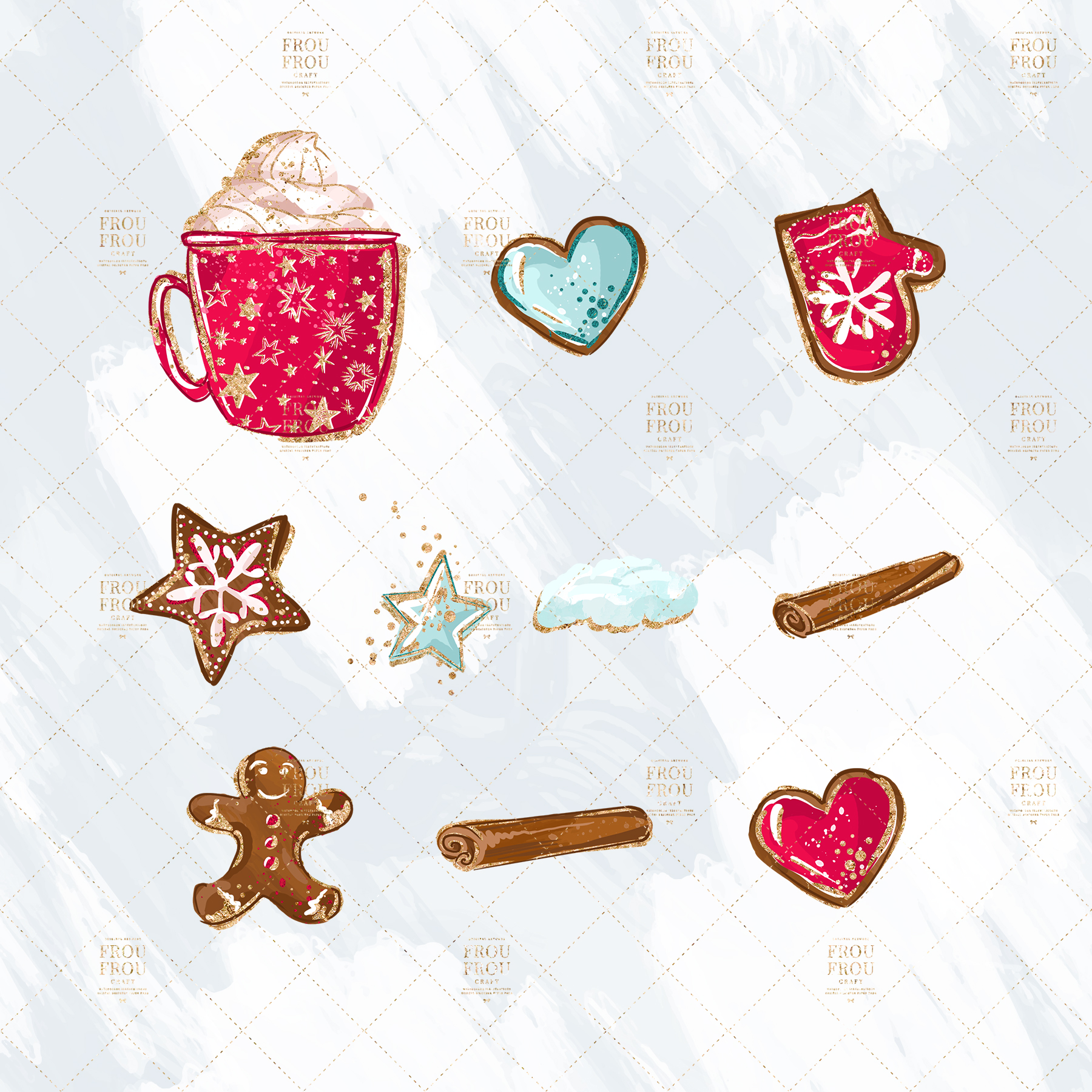 Christmas Winter Ginger Bread Sugar Cane Clip Art example image 7