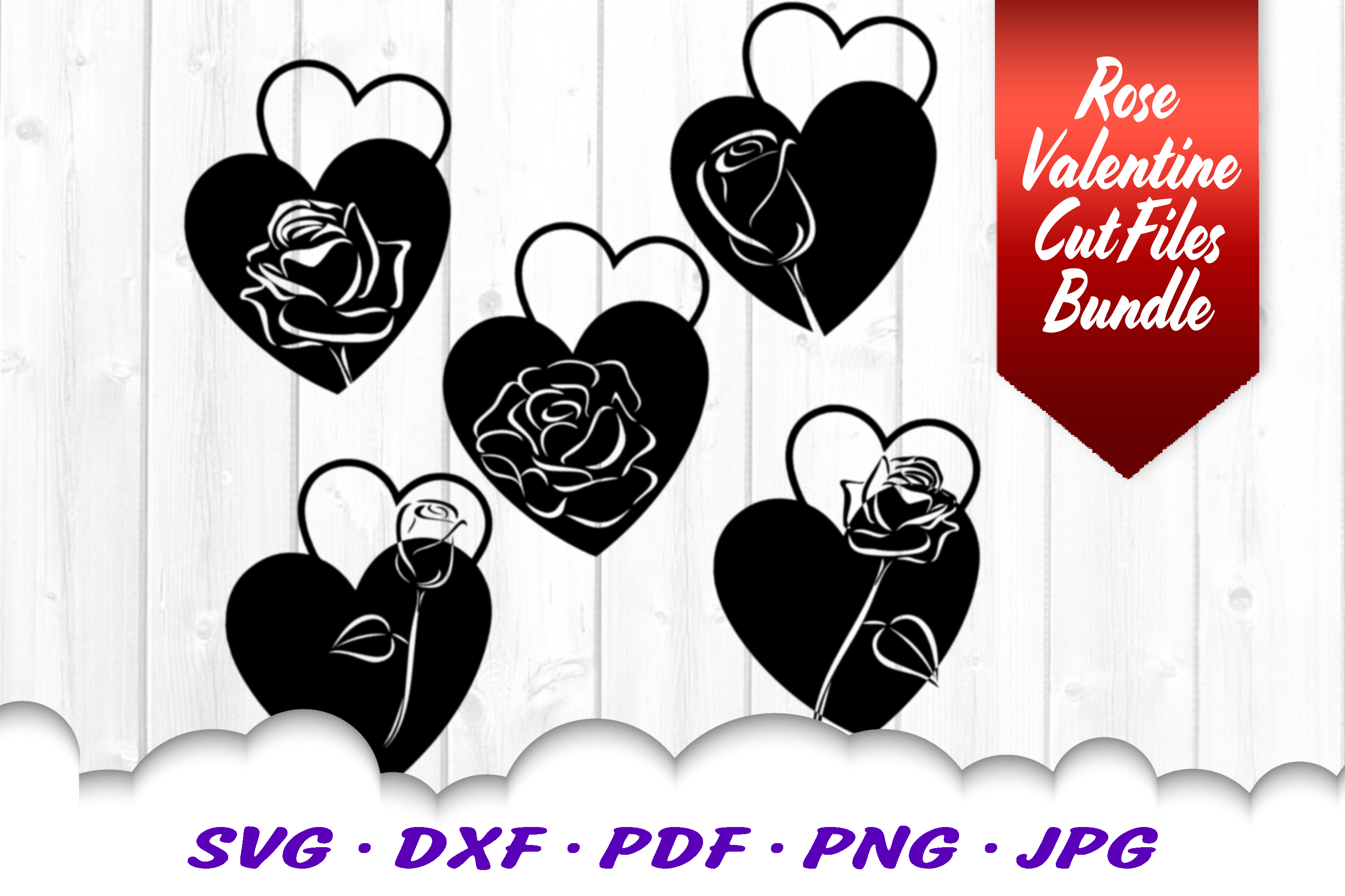 Valentines Day Rose Hearts SVG DXF Cut Files Bundle example image 3