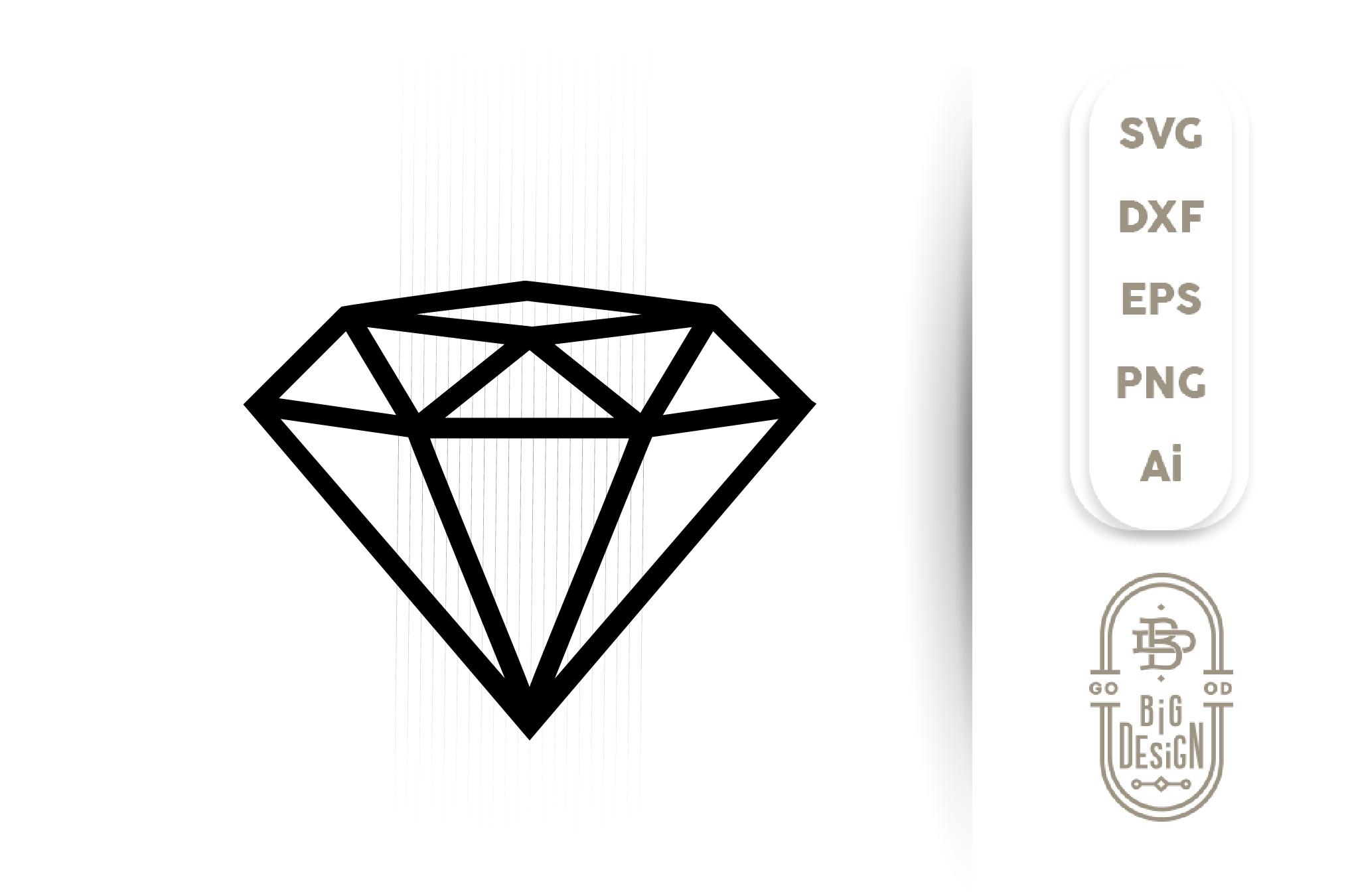 Diamond SVG Cut File , Diamond outline , Engagement Party example image 1