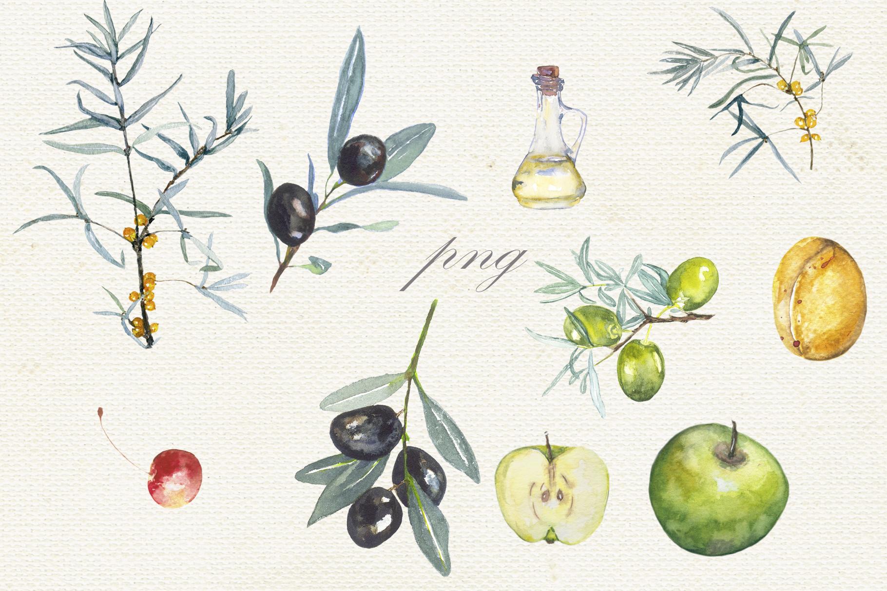 Fruit vegetables food watercolor example image 4