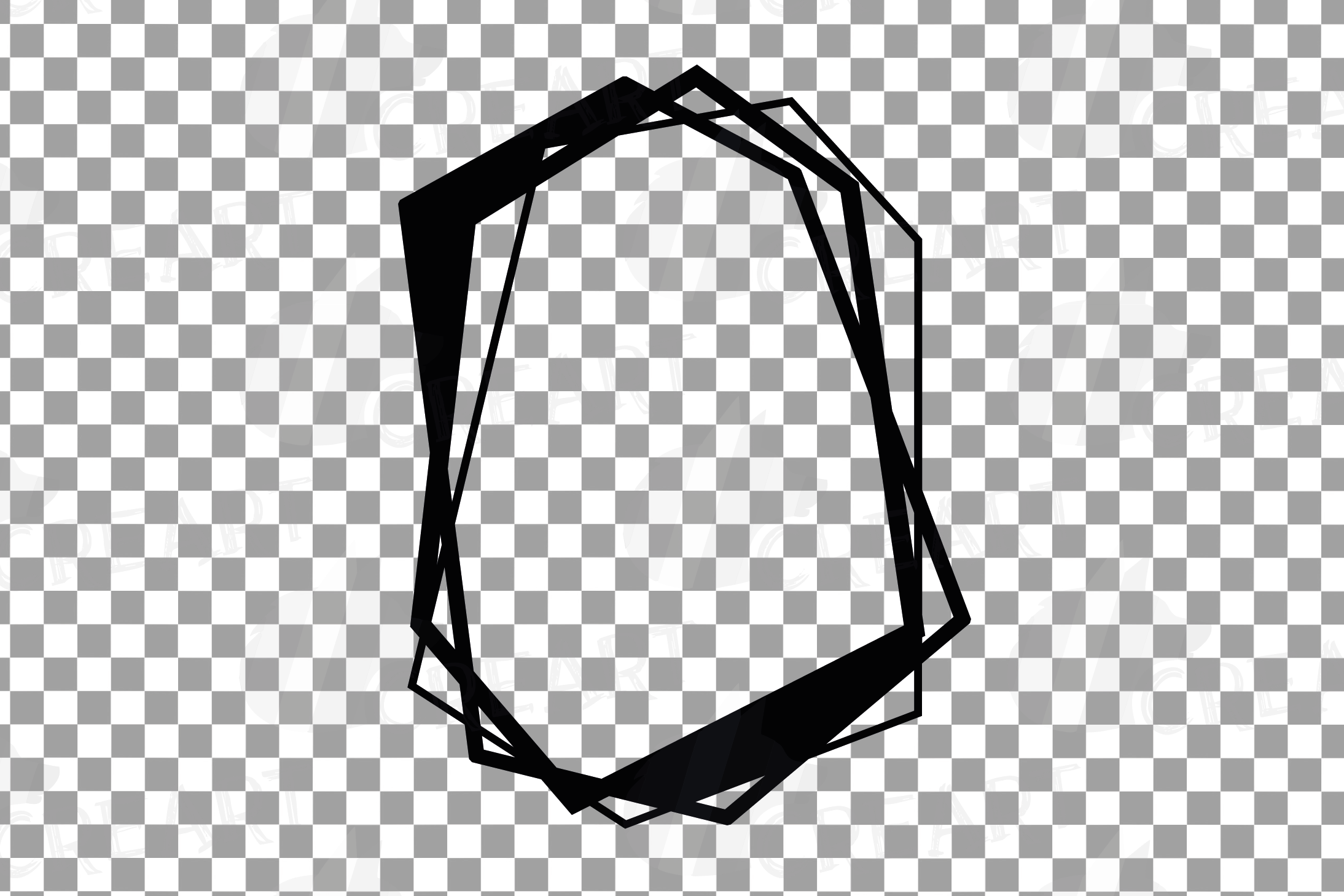 Chaotic geometric black frames, lineal frames clip art example image 6