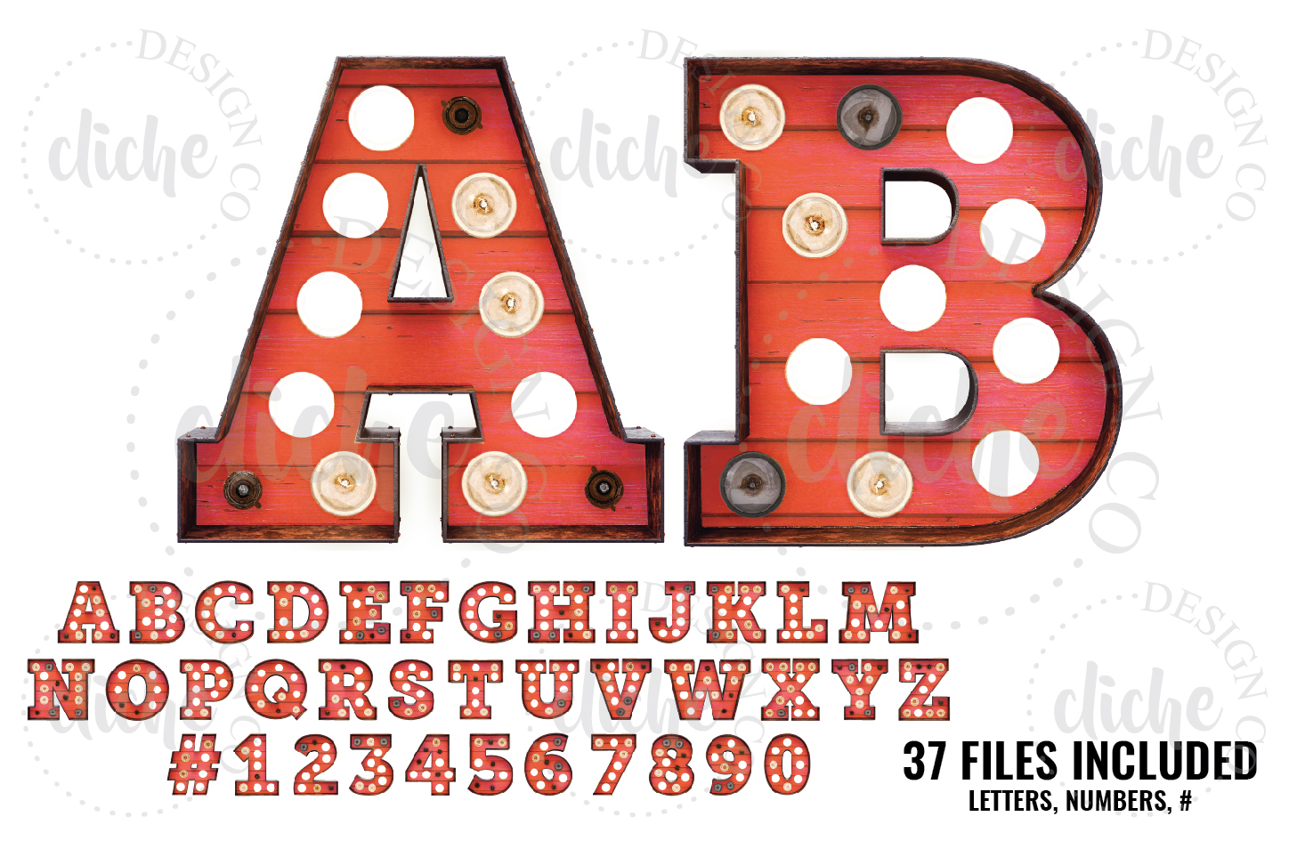 Red Wood Marquee Alphabet Sublimation Set example image 1