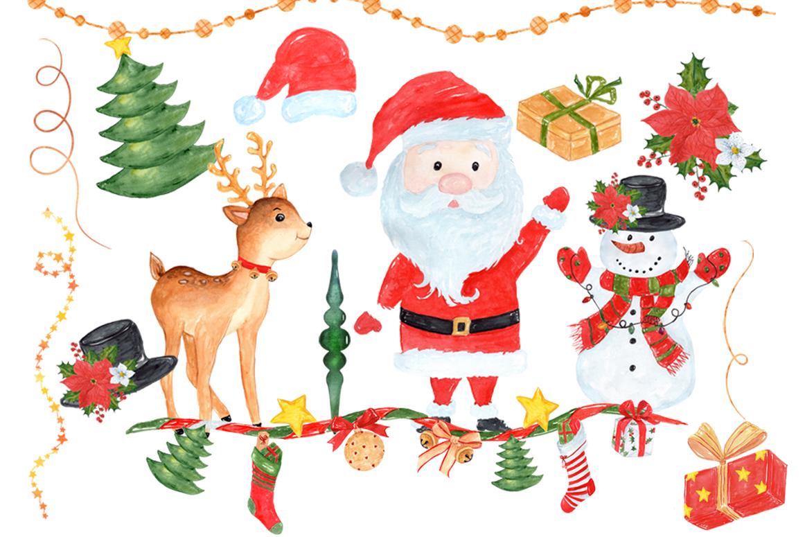 Bundle Watercolor Christmas Kids Clipart example image 10