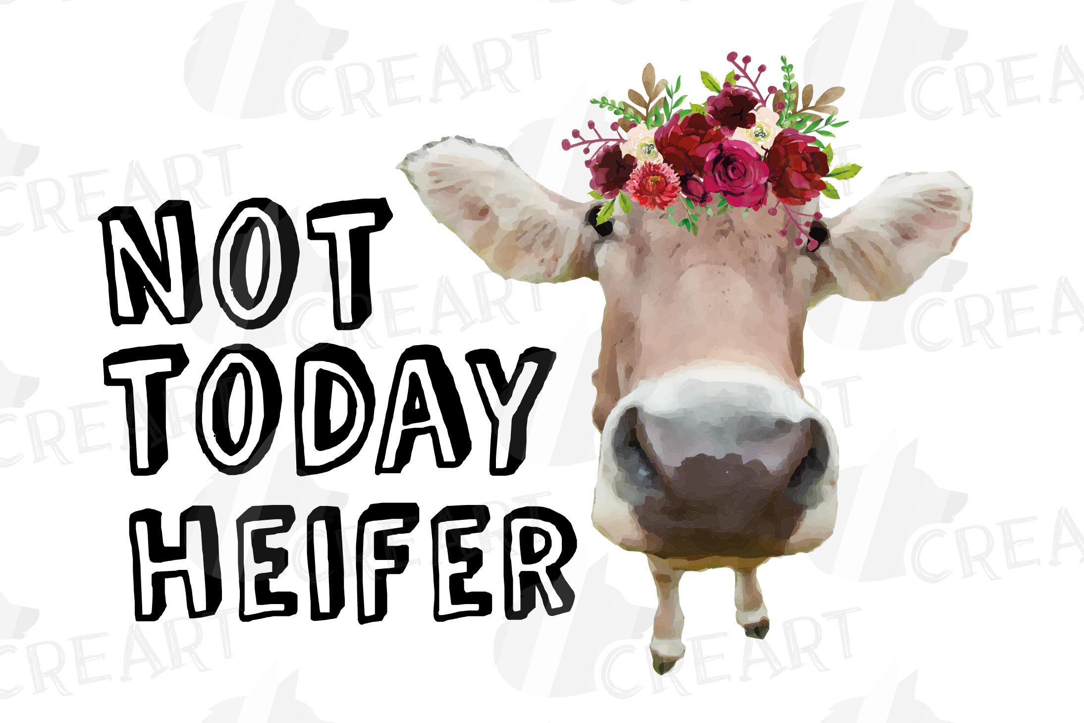 Not today Heifer printable floral burgundy decor, floral cow example image 15