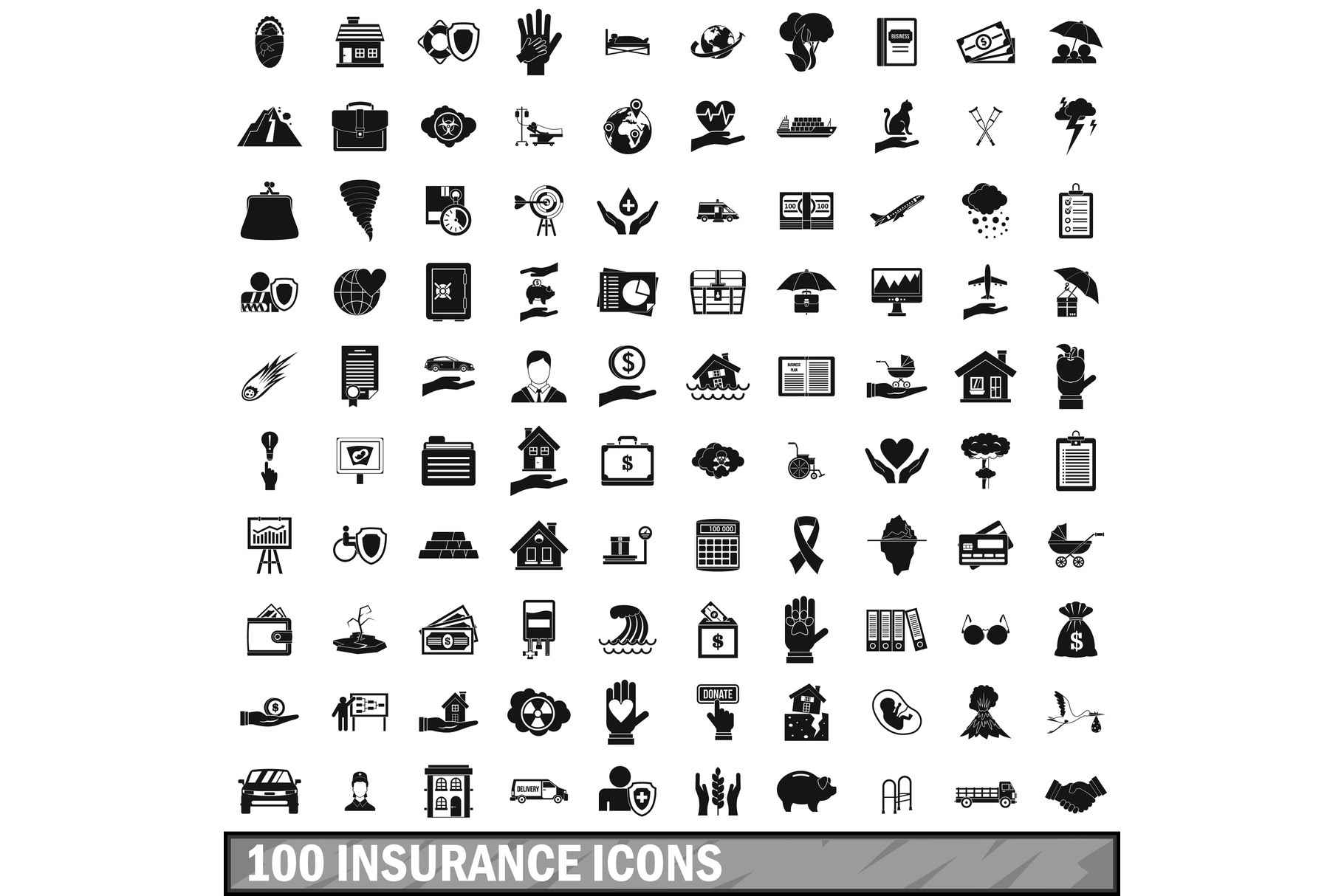 100 insurance icons set, simple style example image 1