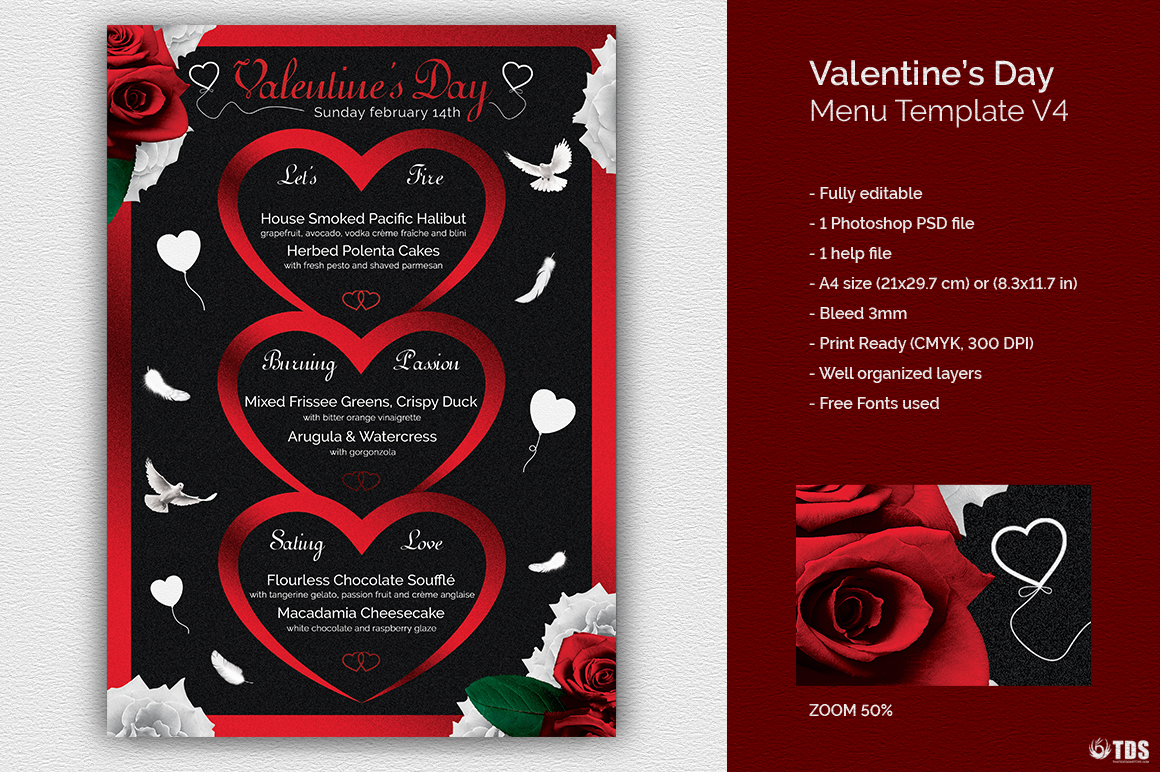 Valentines Day Menu Template V4 example image 1