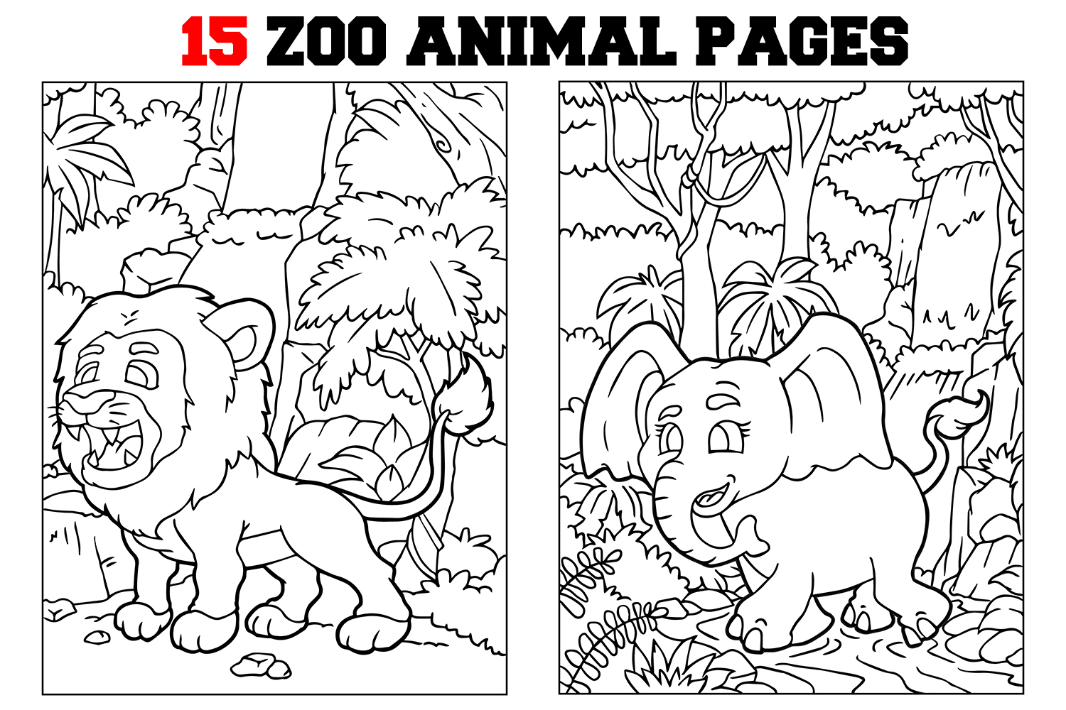 - Coloring Pages For Kids - 15 Zoo Animals Pages (300986
