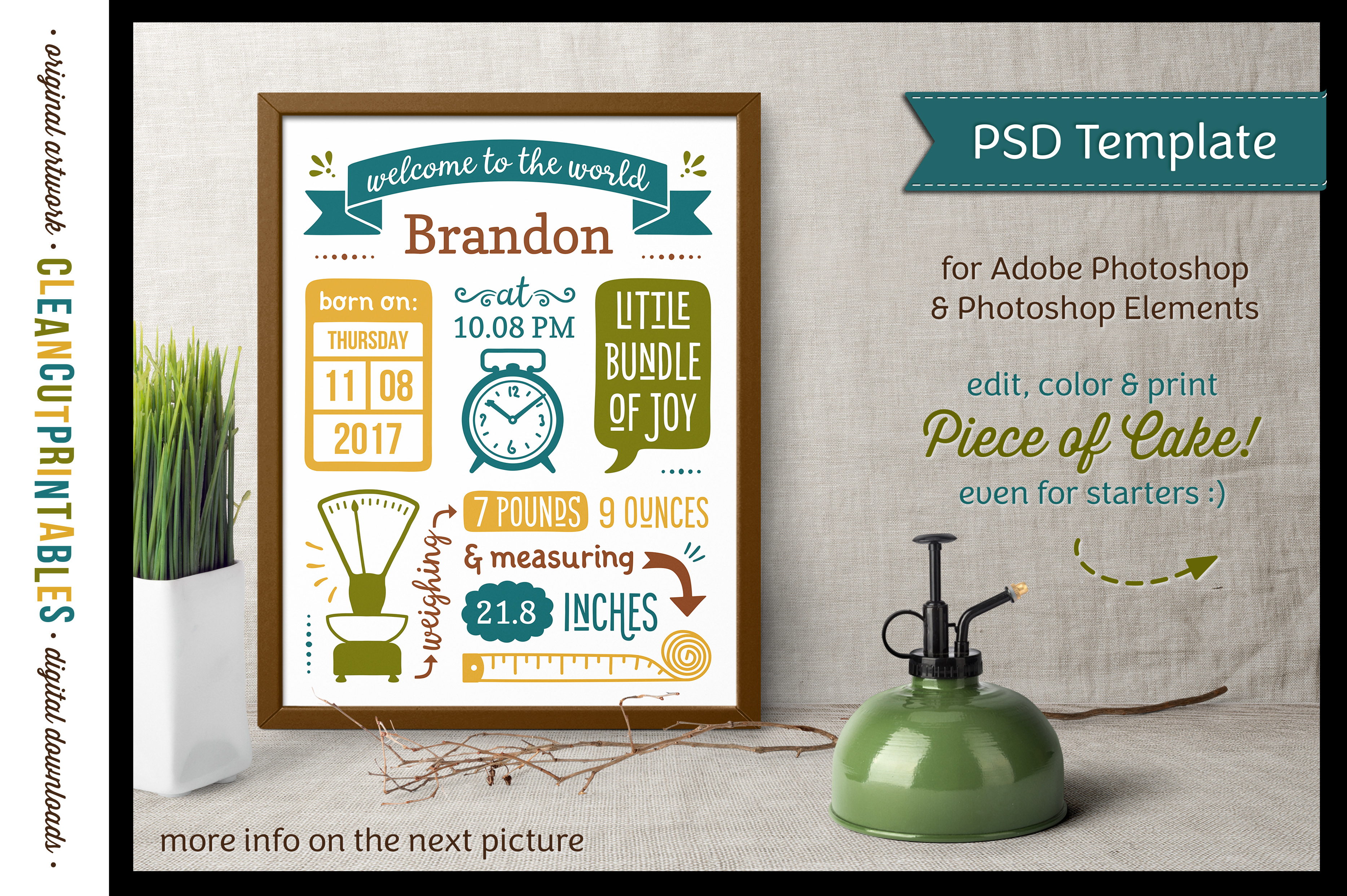 BIRTH STATS TEMPLATE|Photoshop Edit|Baby Birth Announcement example image 1