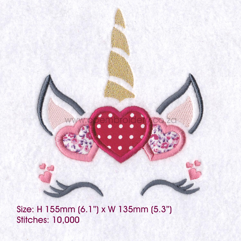 Hearts Unicorn Head Applique Embroidery Design example image 8