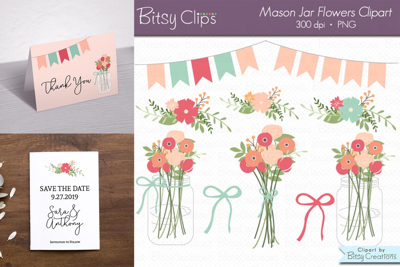 Mason Jar Flowers Digital Art Set Clipart example image 1