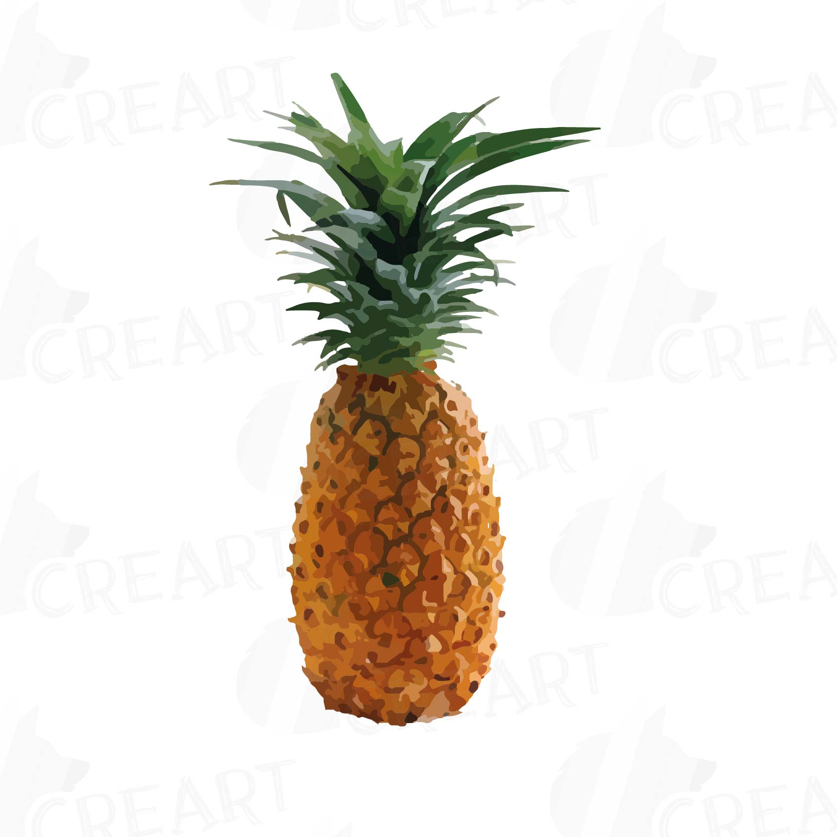 Watercolor Pineapple clip art pack, watercolor ananas clip ...