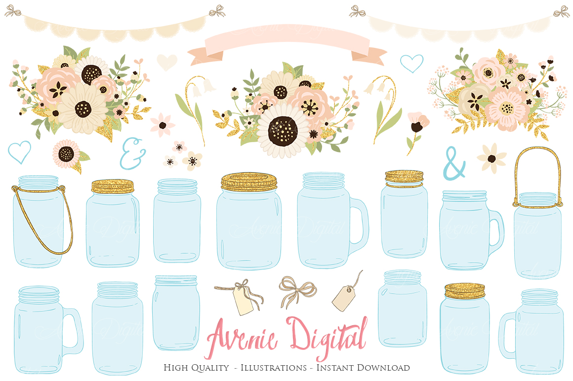 Ivory and Gold Mason Jar Floral Wedding Clipart example image 1