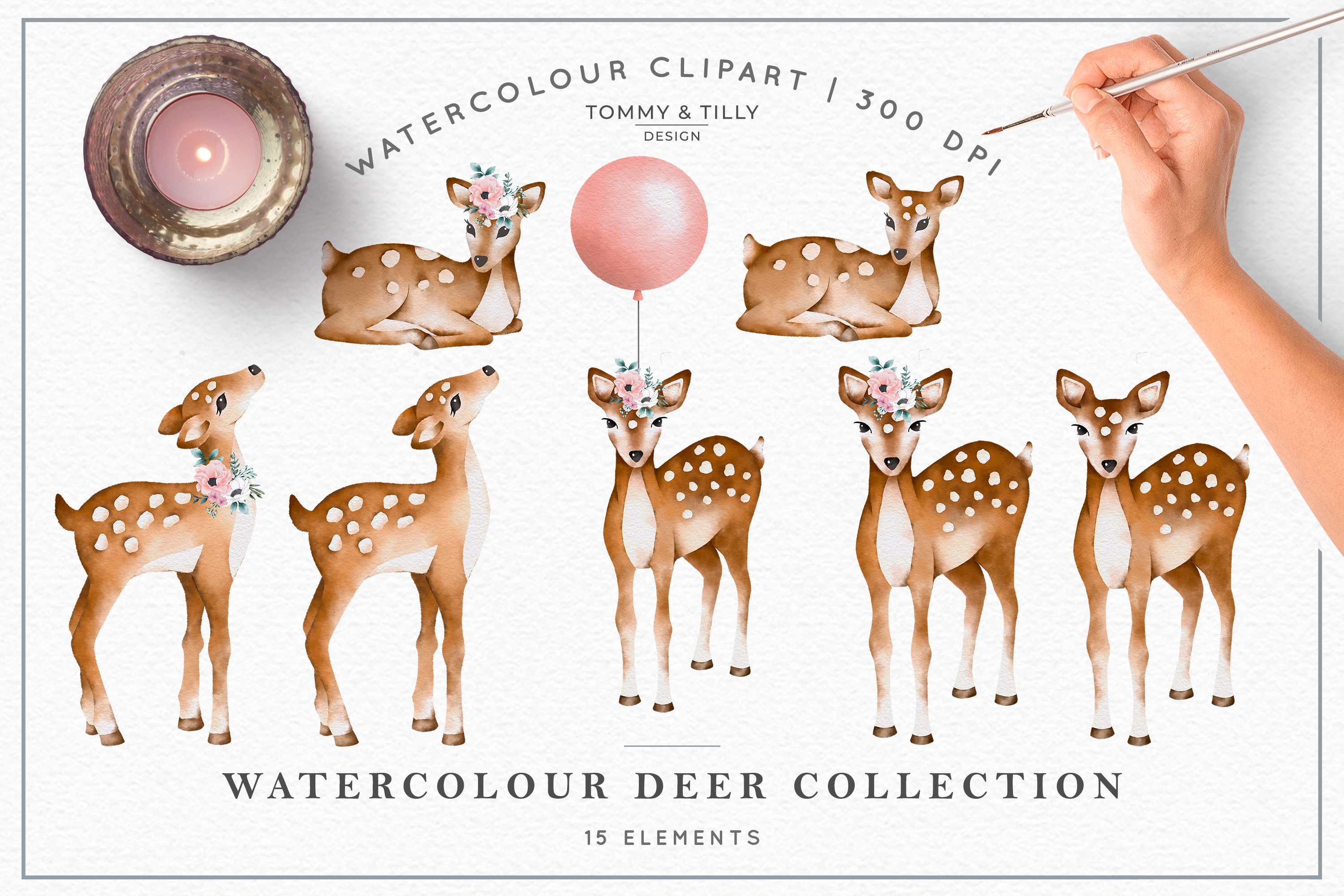 Watercolour Deer Collection - Wedding Baby Flower Clipart PN example image 2