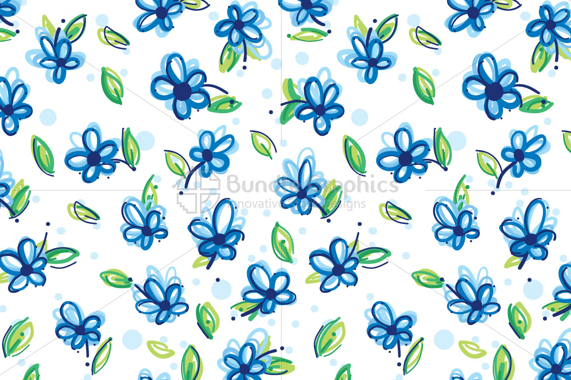 Blue Flowers - Freehand Floral Five Leave Flower Seamless Background example image 1
