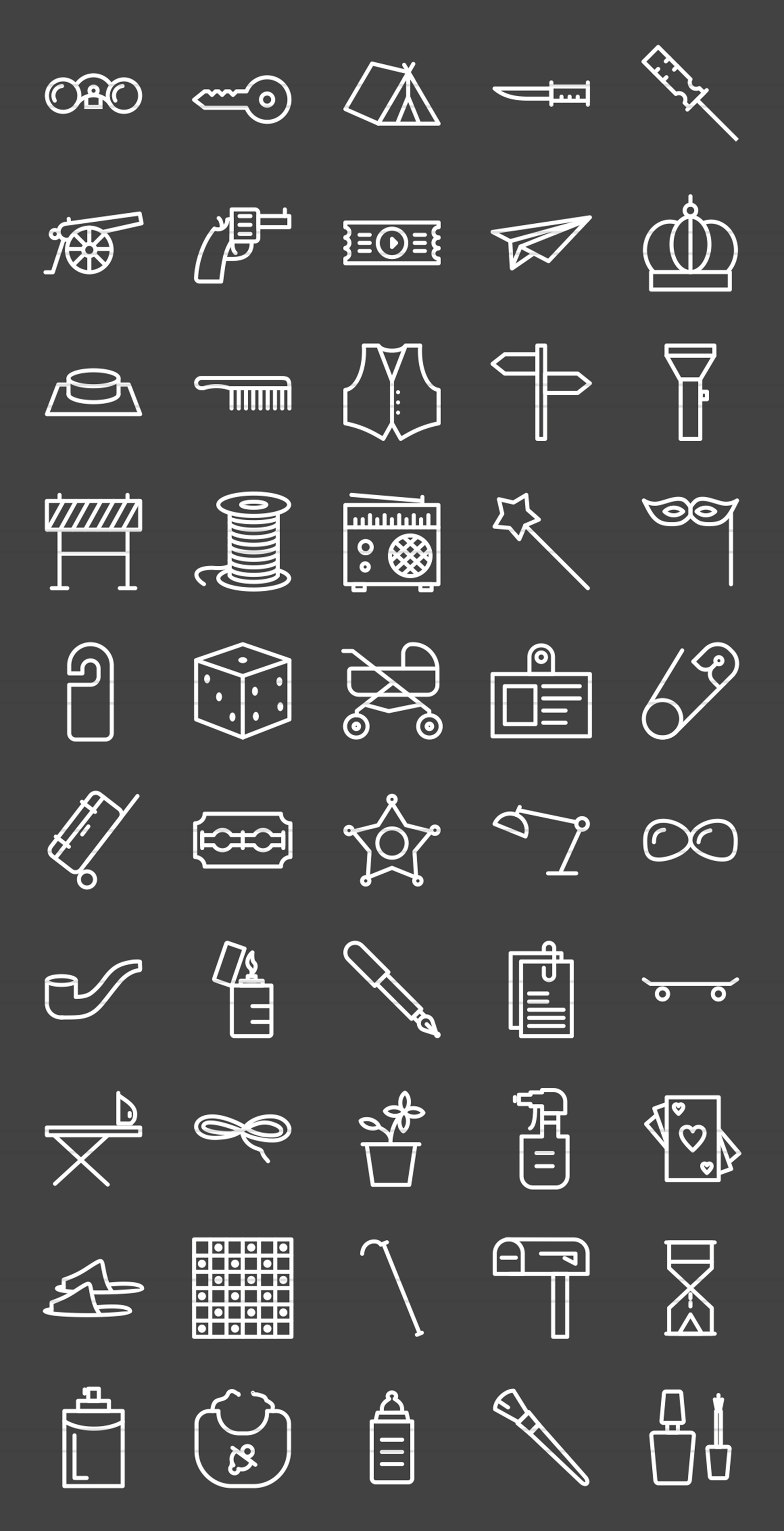 50 Objects Line Inverted Icons example image 2