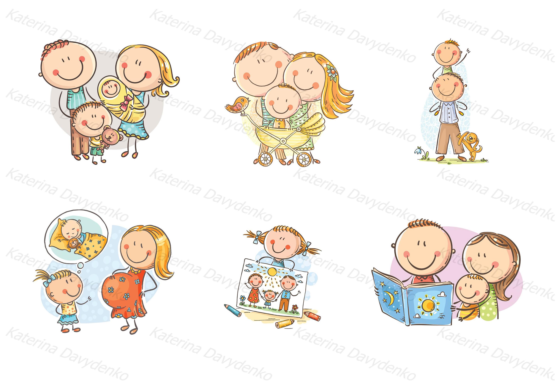 Happy doodle families bundle, vector example image 3