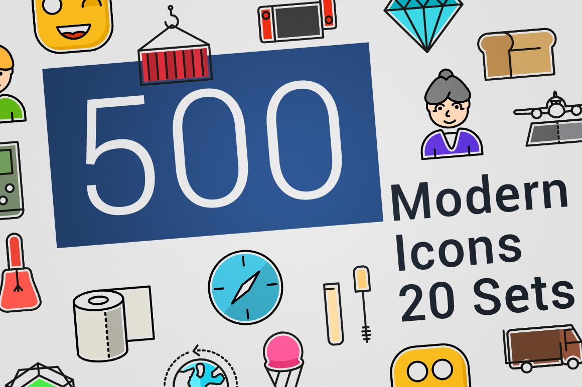 500 Modern Icons Bundle example image 7
