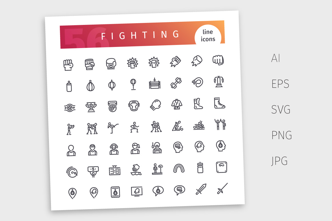Fighting Line Icons Set example image 4