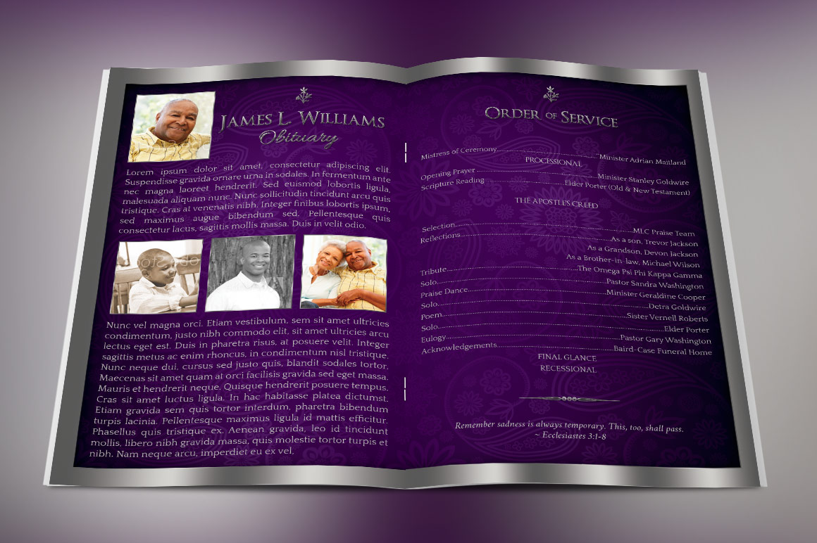 Lavender Dignity Funeral Program Template example image 2