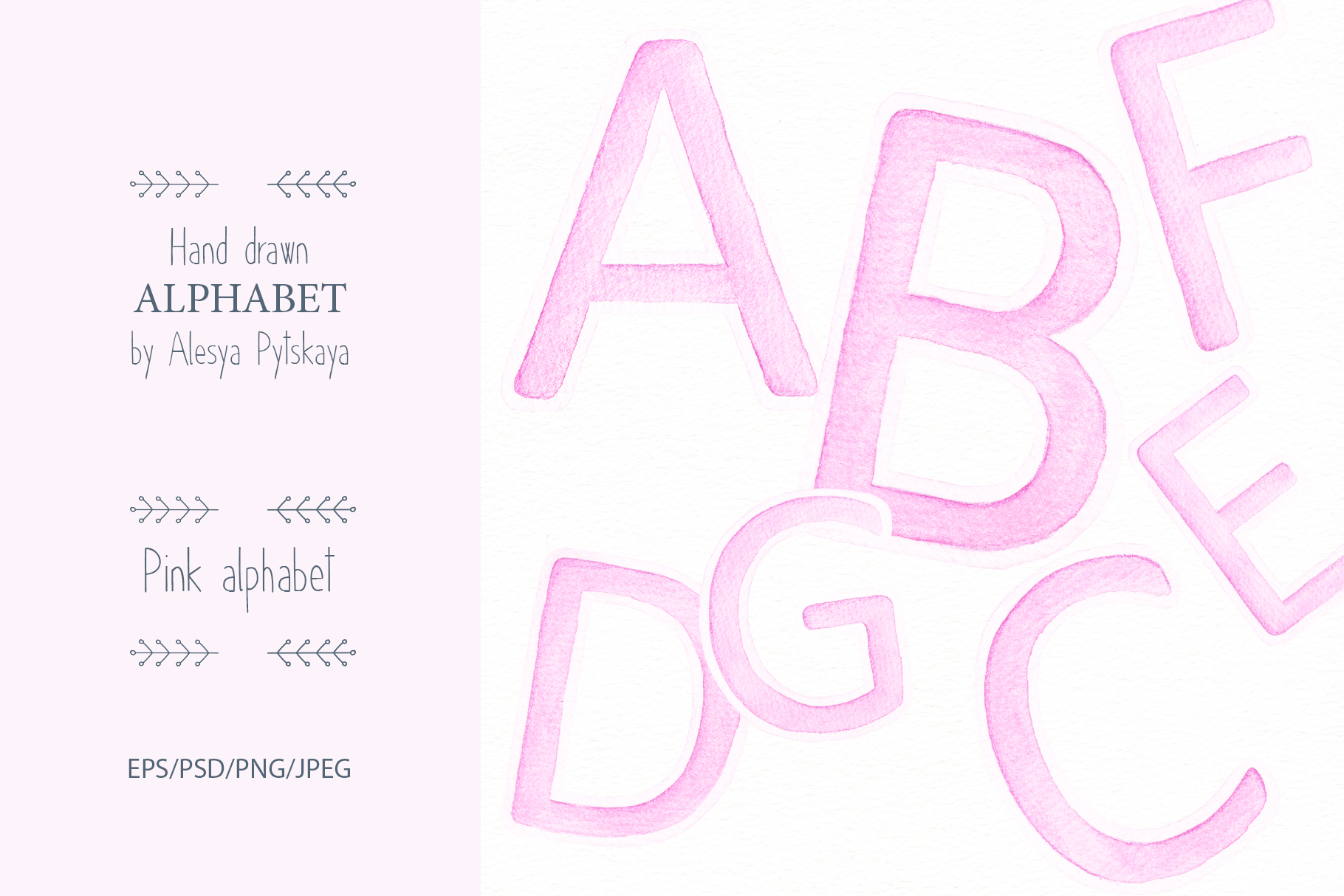 Pink Alphabet - Watercolor set example image 1