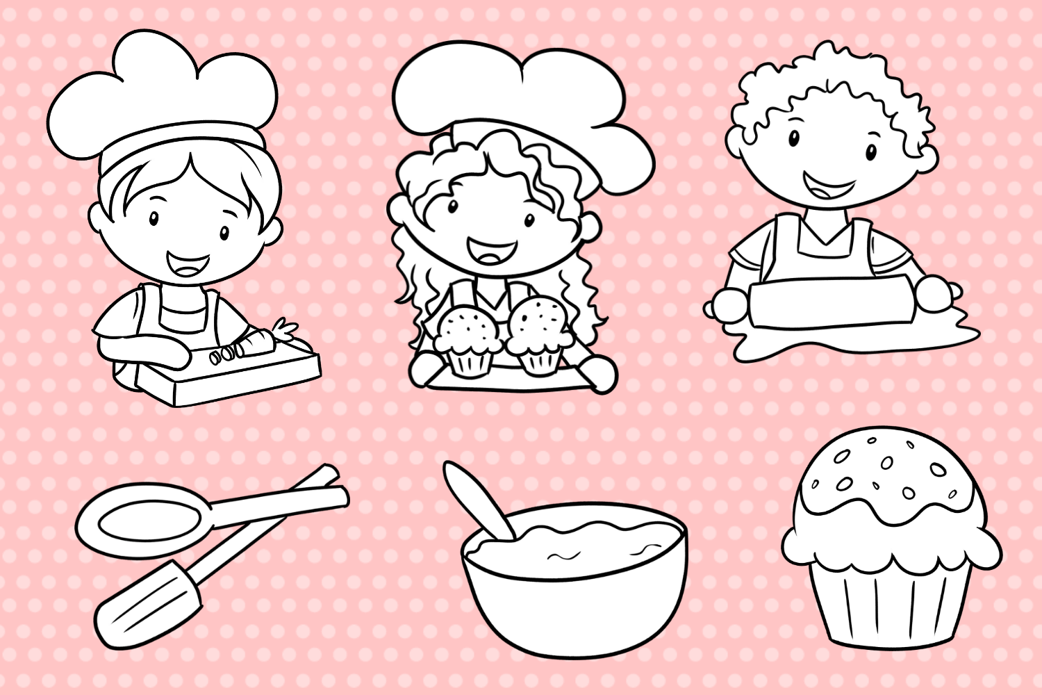 Cute Kids Cooking Digital Stamps example image 2