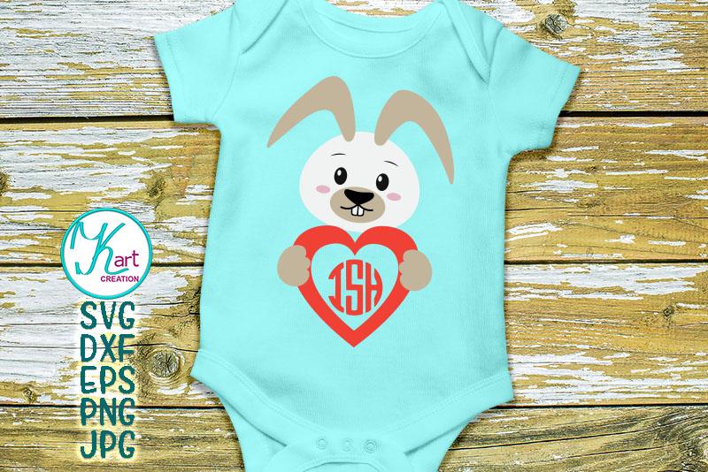 Easter Bunny rabbit heart monogram boy girl to cut digitals example image 2