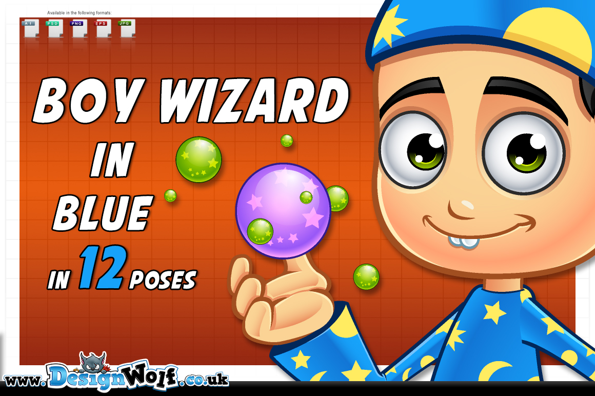 Boy Wizard In Blue - In 12 Poses example image 1