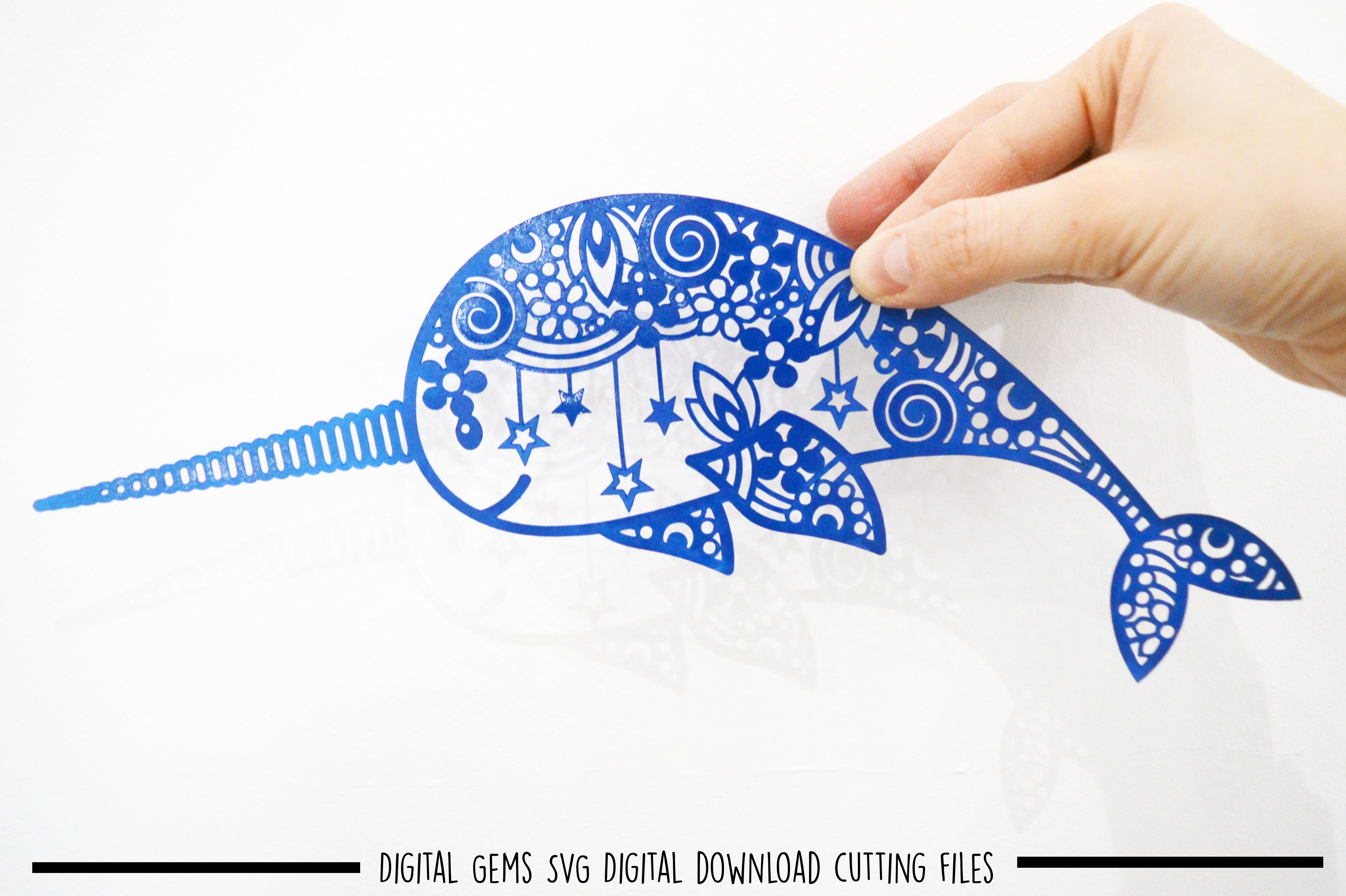 Narwhal paper cut SVG / DXF / EPS files example image 2