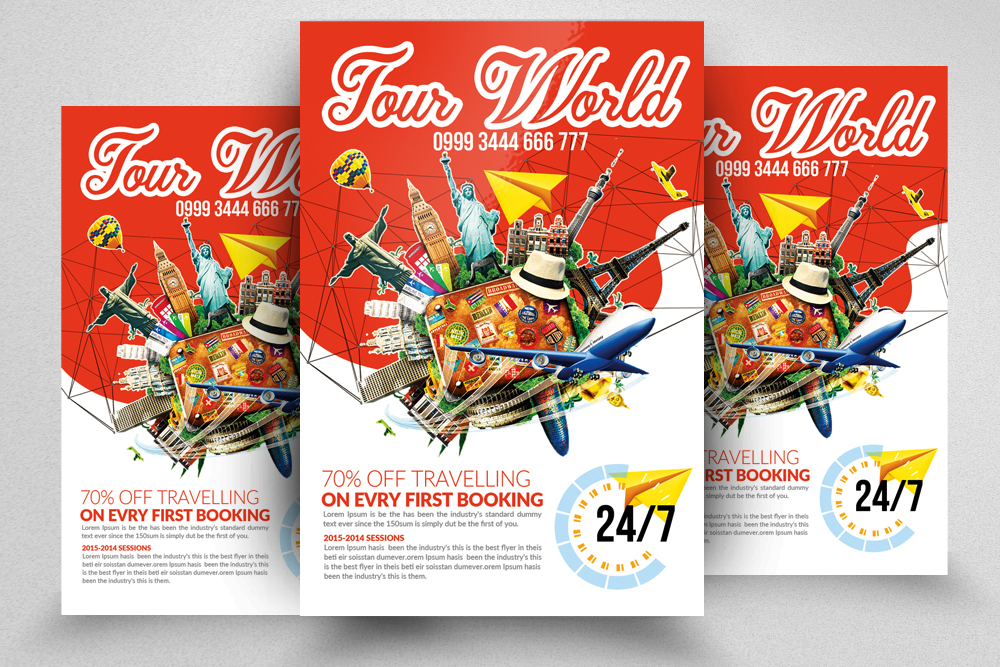 10 Tour Travel Agency Flyer Template Bundle example image 11