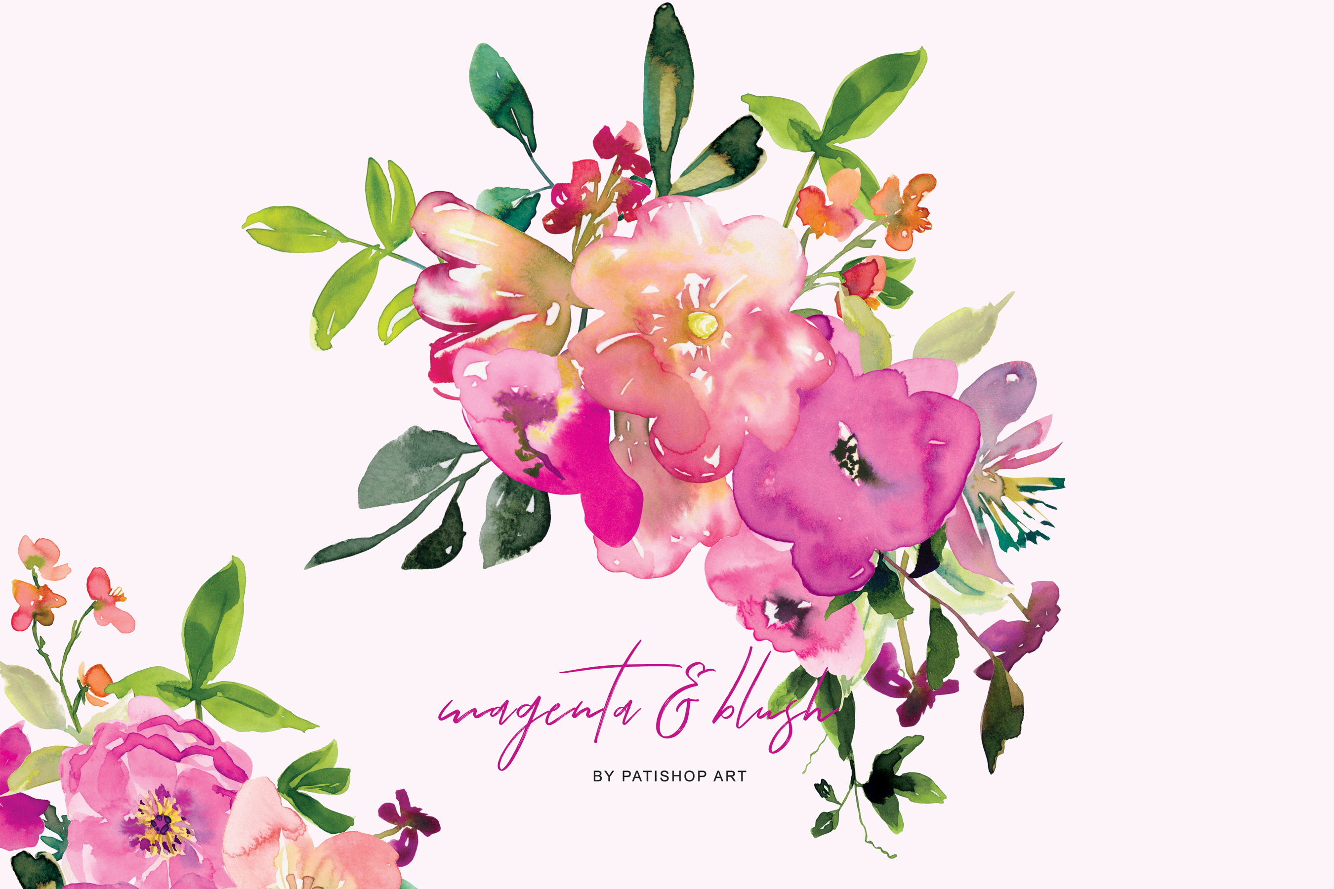 Watercolor Magenta and Blush Floral Bouquet Clipart example image 2