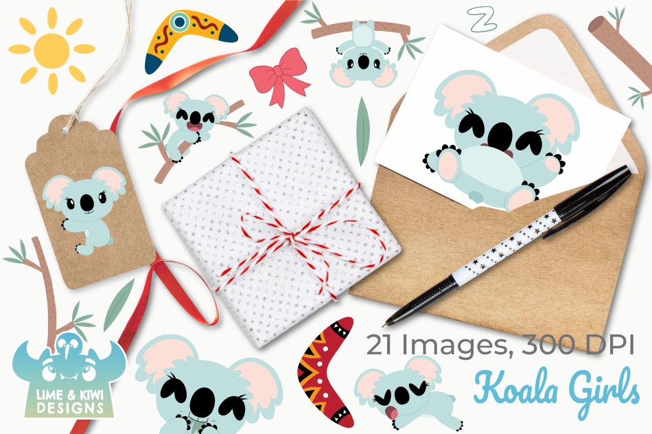 Koala Girls Clipart, Instant Download Vector Art example image 4