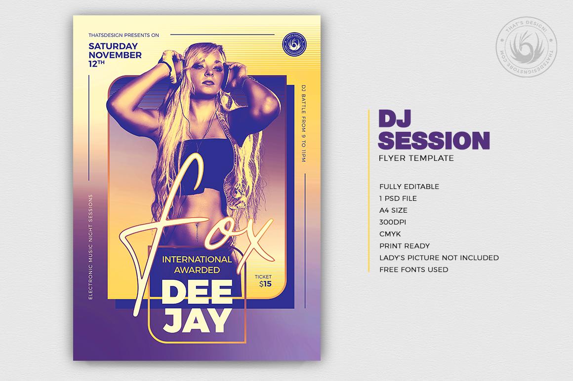 DJ Session Flyer Template V9 example image 2