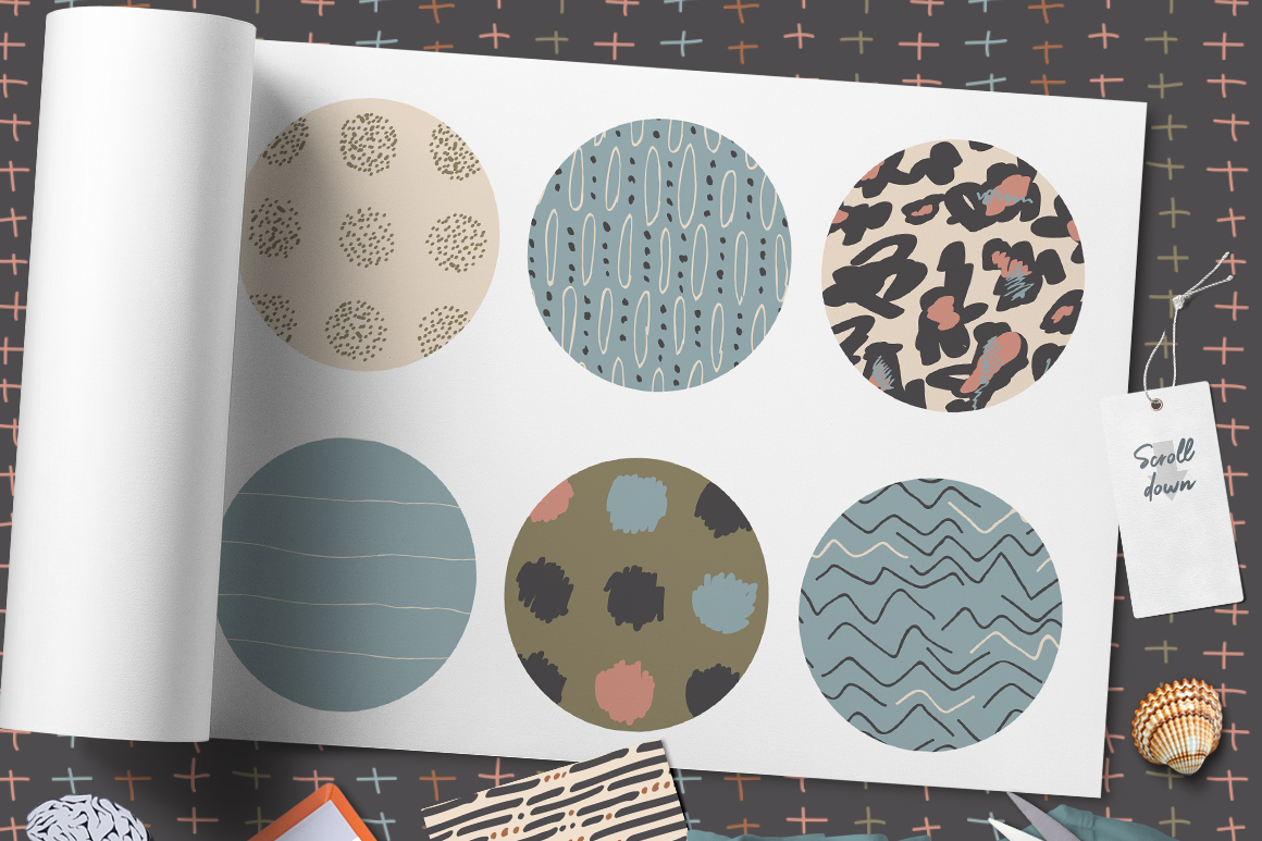 Neutral Hand Drawn Patterns Bundle example image 7