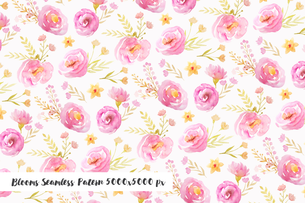 Watercolor Pink Floral Set example image 4